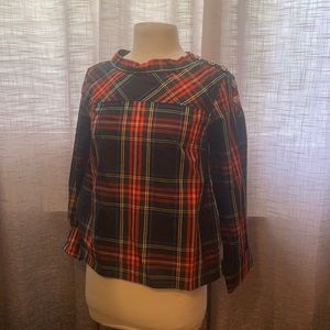 J.Crew new with tags plaid high low blouse